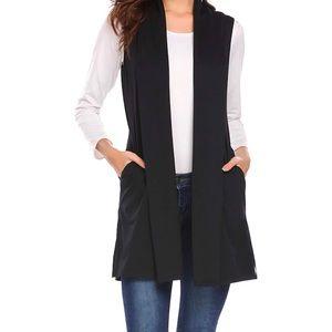 Black Sleeveless Draped Waterfall Cardigan Vest